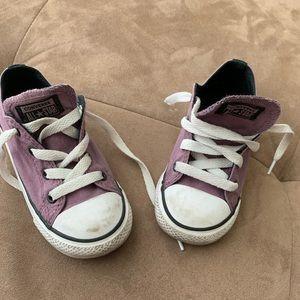 Toddler girls, purple converse shoes.